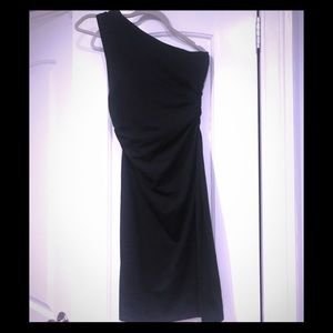 Black cotton stretch one shoulder dress
